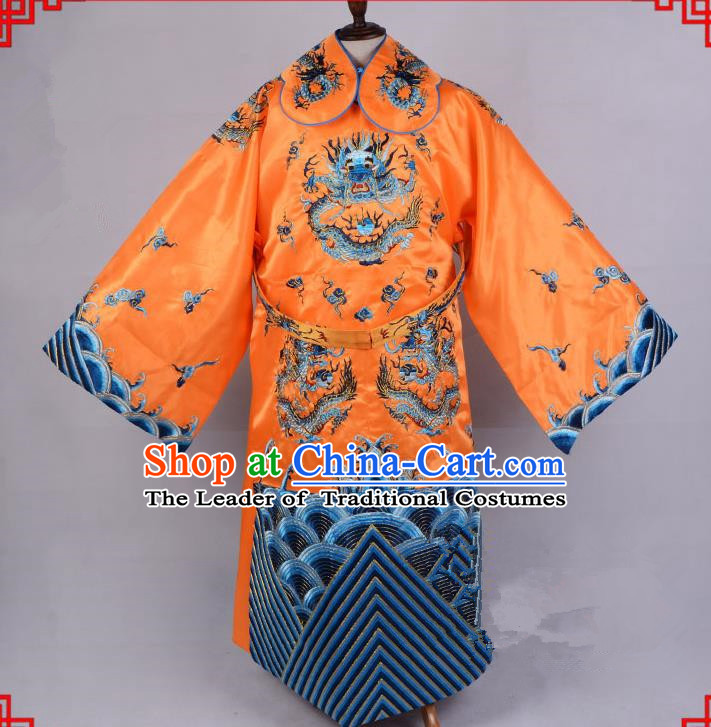 Top Grade Professional Beijing Opera Emperor Costume Royal Highness Yellow Embroidered Robe and Belts, Traditional Ancient Chinese Peking Opera Embroidery Dragons Clothing