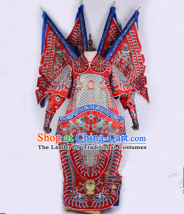Top Grade Professional Beijing Opera General Costume Embroidered Cape, Traditional Ancient Chinese Peking Opera Military Officer Embroidery Robe Clothing