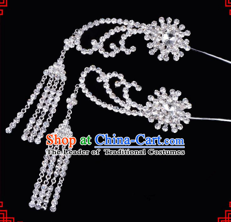 Traditional Beijing Opera Diva Hair Accessories Crystal Tassel Step Shake Hairpins, Ancient Chinese Peking Opera Hua Tan Hair Stick Headwear