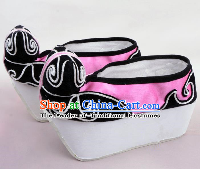 Traditional Beijing Opera Niche Pink Shoes Young Men Fulfillment of Cloud, Ancient Chinese Peking Opera Scholar Satin Flange Shoes