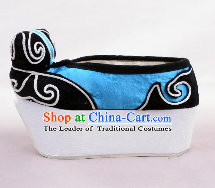 Traditional Beijing Opera Niche Deep Blue Shoes Young Men Fulfillment of Cloud, Ancient Chinese Peking Opera Scholar Satin Flange Shoes