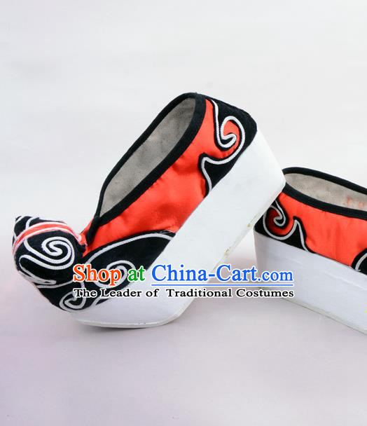 Traditional Beijing Opera Niche Red Shoes Young Men Fulfillment of Cloud, Ancient Chinese Peking Opera Scholar Satin Flange Shoes