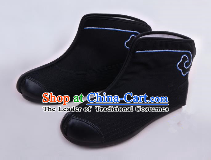 Traditional Beijing Opera Takefu Shoes Young Men Warrior Quick Boots, Ancient Chinese Peking Opera Wu-Sheng Black Shoes