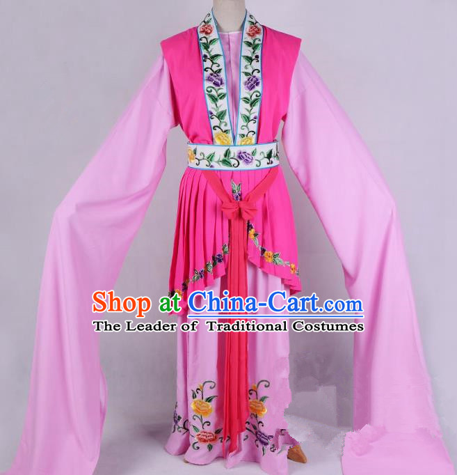 Top Grade Professional Beijing Opera Diva Costume Hua Tan Pink Embroidered Dress, Traditional Ancient Chinese Peking Opera Princess Embroidery Clothing