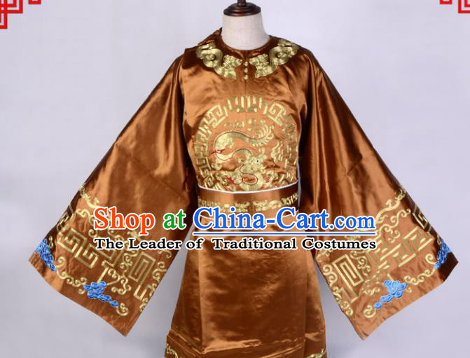 Top Grade Professional Beijing Opera Niche Costume Officer Golden Embroidered Robe, Traditional Ancient Chinese Peking Opera Embroidery Gwanbok Clothing
