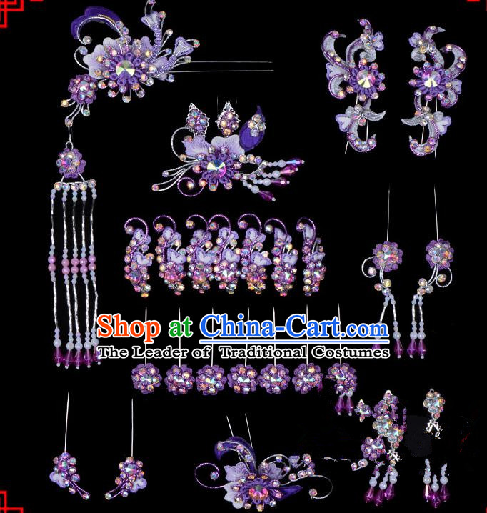 Traditional Beijing Opera Diva Hair Accessories Head Ornaments Complete Set Purple Hairpins, Ancient Chinese Peking Opera Hua Tan Hair Stick Headwear