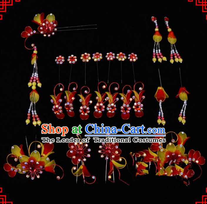 Traditional Beijing Opera Diva Hair Accessories Head Ornaments Complete Set Red Hairpins, Ancient Chinese Peking Opera Hua Tan Hair Stick Headwear