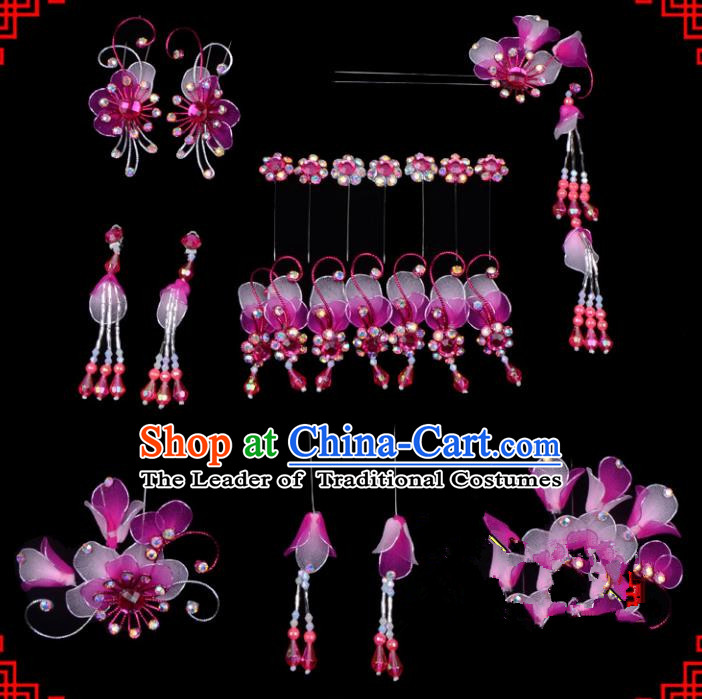 Traditional Beijing Opera Diva Hair Accessories Head Ornaments Complete Set Rosy Hairpins, Ancient Chinese Peking Opera Hua Tan Hair Stick Headwear