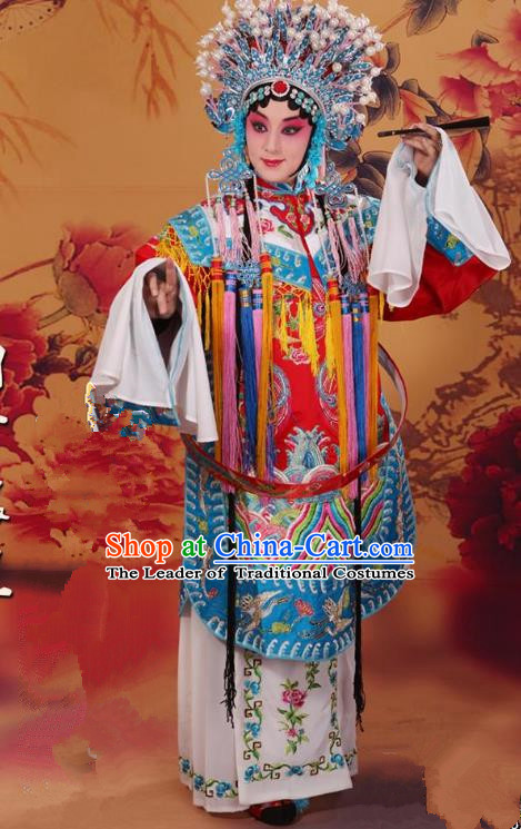 Top Grade Professional Beijing Opera Diva Costume Palace Senior Concubine Embroidered Robe and Phoenix Coronet, Traditional Ancient Chinese Peking Opera Embroidery Dress Clothing