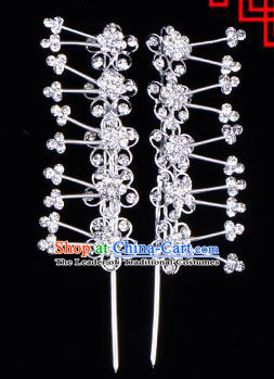 Traditional Beijing Opera Diva Hair Accessories Crystal Plum Blossom Head Ornaments Hairpins, Ancient Chinese Peking Opera Hua Tan Hair Stick Headwear