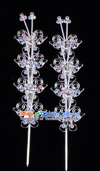 Traditional Beijing Opera Diva Hair Accessories Crystal Butterfly Head Ornaments Hairpins, Ancient Chinese Peking Opera Hua Tan Hair Stick Headwear