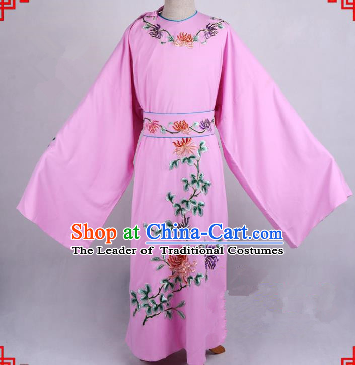 Top Grade Professional Beijing Opera Niche Costume Gifted Scholar Pink Embroidered Robe, Traditional Ancient Chinese Peking Opera Embroidery Chrysanthemum Clothing