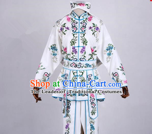 Traditional China Beijing Opera Swordplay Costume, Ancient Chinese Peking Opera Blues Warrior Embroidery White Clothing