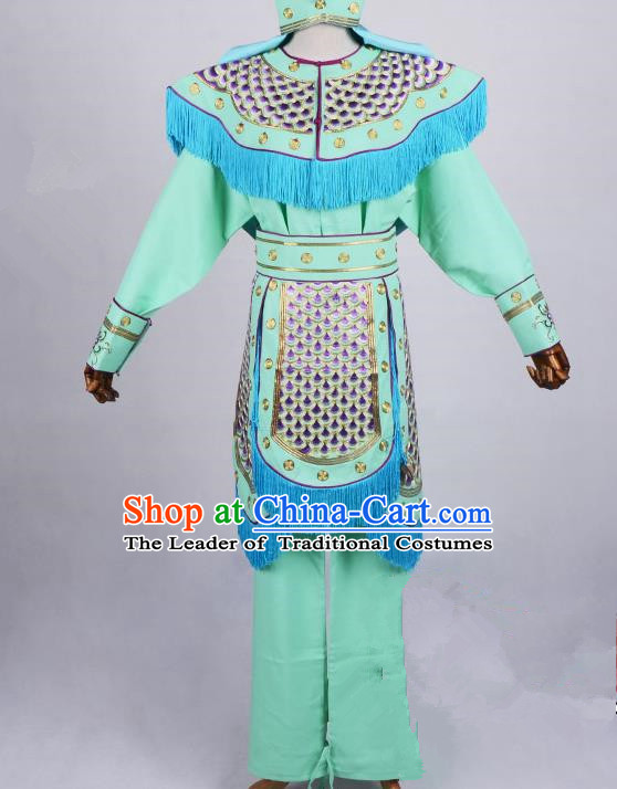 Top Grade Professional Beijing Opera Female Warriors Costume Swordplay Green Embroidered Dress, Traditional Ancient Chinese Peking Opera Blues Embroidery Clothing