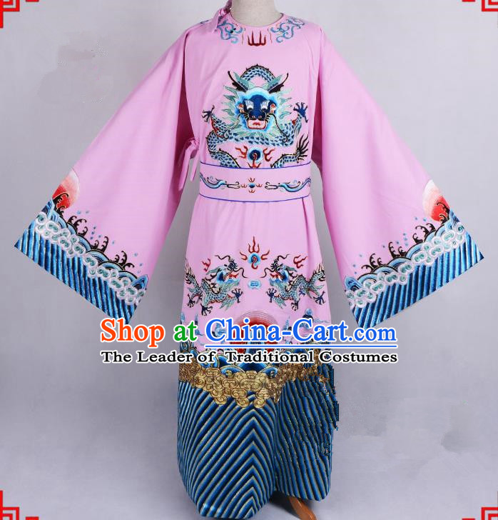 Top Grade Professional Beijing Opera Emperor Costume General Pink Silk Embroidered Robe and Belts, Traditional Ancient Chinese Peking Opera Royal Highness Embroidery Dragons Clothing