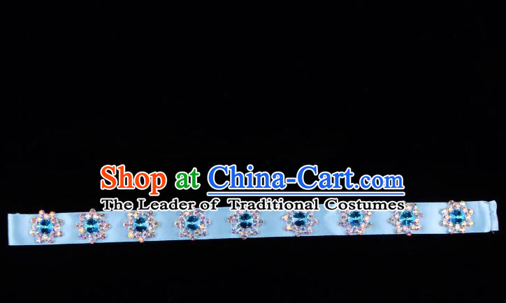 Traditional Beijing Opera Diva Hair Accessories Colorful Crystal Blue Headband, Ancient Chinese Peking Opera Hua Tan Hair Clasp Headwear