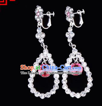 Traditional Beijing Opera Diva Jewelry Accessories Pink Crystal Earrings, Ancient Chinese Peking Opera Hua Tan Eardrop