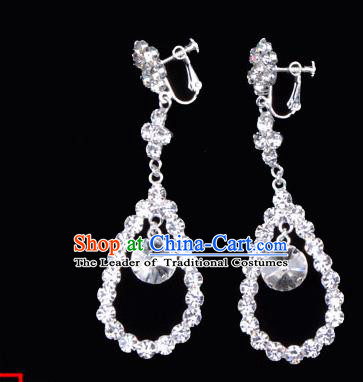 Traditional Beijing Opera Diva Jewelry Accessories Crystal Earrings, Ancient Chinese Peking Opera Hua Tan Eardrop