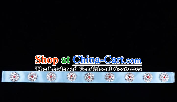 Traditional Beijing Opera Diva Hair Accessories Crystal Blue Headband, Ancient Chinese Peking Opera Hua Tan Hair Clasp Headwear