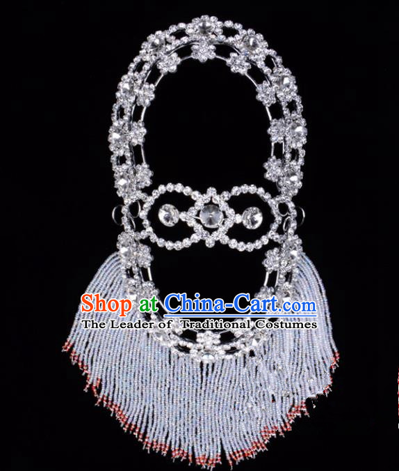 Traditional Beijing Opera Diva Hair Accessories Crystal Head Ornaments Hairpins, Ancient Chinese Peking Opera Hua Tan Headband Headwear