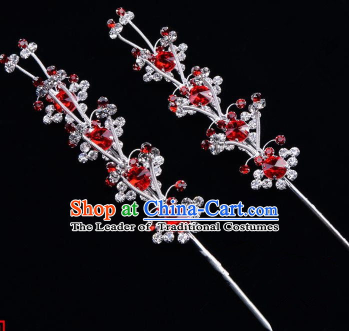 Traditional Beijing Opera Diva Hair Accessories Red Crystal Hairpins, Ancient Chinese Peking Opera Hua Tan Hair Stick Headwear