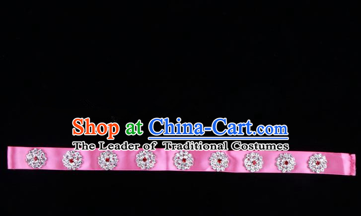 Traditional Beijing Opera Diva Hair Accessories Crystal Pink Headband, Ancient Chinese Peking Opera Hua Tan Hair Clasp Headwear