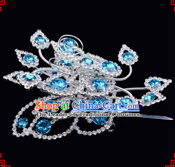 Traditional Beijing Opera Diva Hair Accessories Blue Crystal Butterfly Large Hairpins, Ancient Chinese Peking Opera Hua Tan Hair Stick Headwear