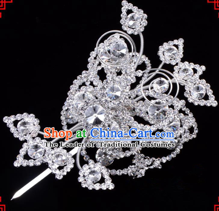 Traditional Beijing Opera Diva Hair Accessories Crystal Butterfly Large Hairpins, Ancient Chinese Peking Opera Hua Tan Hair Stick Headwear