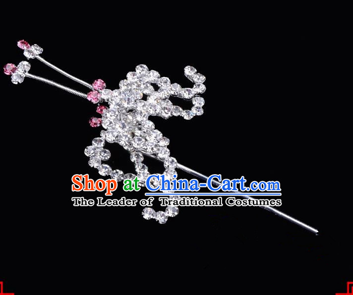 Traditional Beijing Opera Diva Hair Accessories Pink Crystal Bat Hairpins, Ancient Chinese Peking Opera Hua Tan Hair Stick Headwear