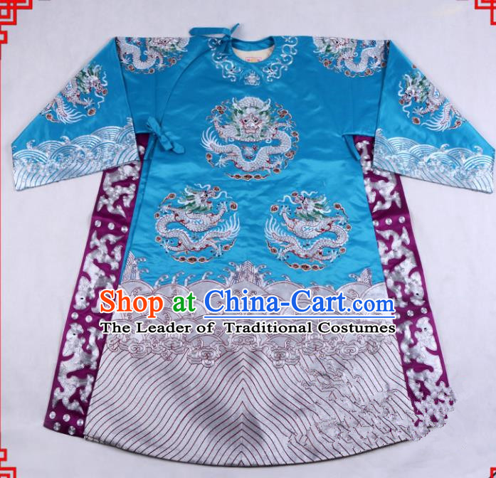 Top Grade Professional Beijing Opera Emperor Costume General Blue Embroidered Robe, Traditional Ancient Chinese Peking Opera Royal Highness Embroidery Dragons Clothing