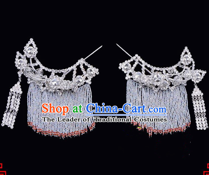 Traditional Beijing Opera Diva Hair Accessories Crystal Hairpins Temples Curtain Step Shake, Ancient Chinese Peking Opera Hua Tan Hair Stick Headwear