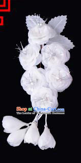 Traditional Beijing Opera Diva Hair Accessories White Silk Jasmine Flower Hairpins, Ancient Chinese Peking Opera Setp Shake Hua Tan Hair Stick Headwear