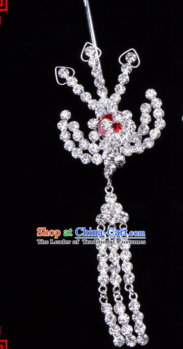 Traditional Beijing Opera Diva Hair Accessories Red Crystal Hairpins Phoenix Step Shake, Ancient Chinese Peking Opera Hua Tan Hair Stick Headwear