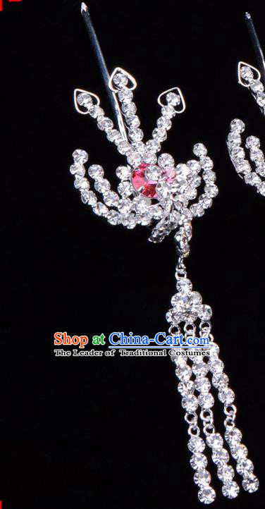 Traditional Beijing Opera Diva Hair Accessories Pink Crystal Hairpins Phoenix Step Shake, Ancient Chinese Peking Opera Hua Tan Hair Stick Headwear