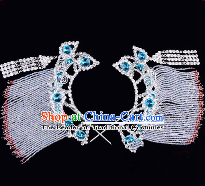 Traditional Beijing Opera Diva Hair Accessories Blue Crystal Hairpins Temples Curtain Step Shake, Ancient Chinese Peking Opera Hua Tan Hair Stick Headwear