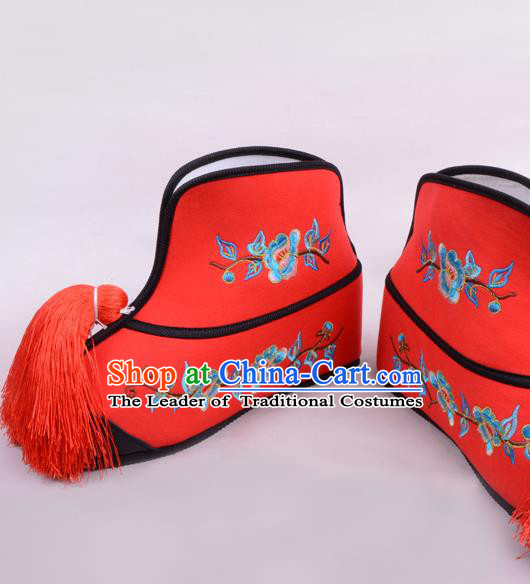 Traditional Beijing Opera Swordplay Embroidered Red Boots Young Lady Shoes, Ancient Chinese Peking Opera Blues Shoes