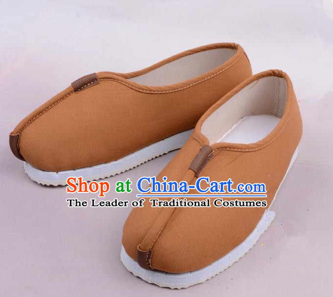 Traditional Beijing Opera Takefu Grey Cloth Shoes, Ancient Chinese Peking Opera Monk Shoes