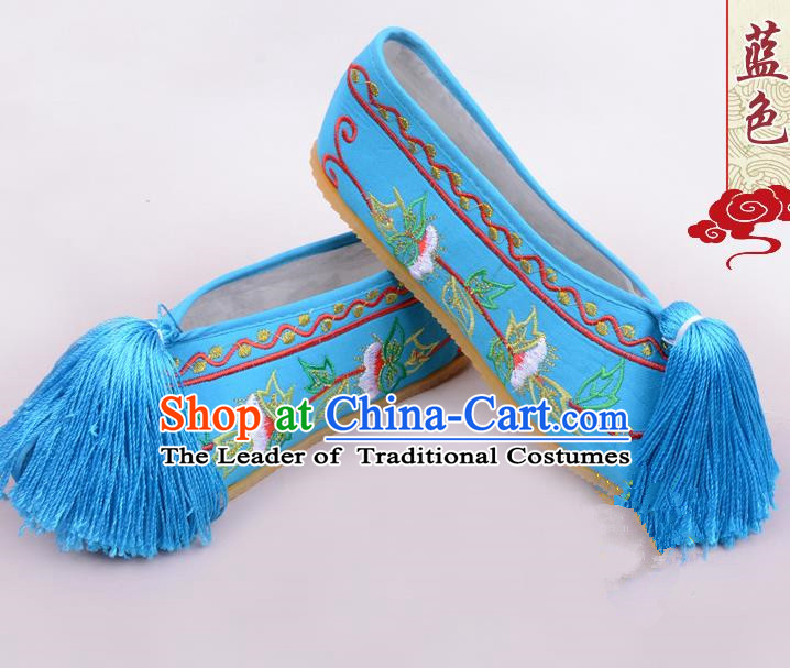 Traditional Beijing Opera Hua Tan Blue Embroidered Shoes Young Lady Princess Shoes, Ancient Chinese Peking Opera Diva Blood Stained Shoes