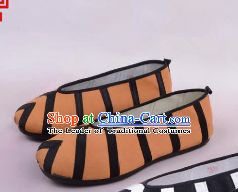 Traditional Beijing Opera Takefu Black Cloth Shoes, Ancient Chinese Peking Opera Brown Monk Shoes