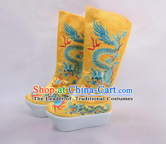 Traditional Beijing Opera Emperor Embroidered Boots Yellow Tiger-head Shoes, Ancient Chinese Peking Opera Takefu Satin Embroidery High Leg Boots
