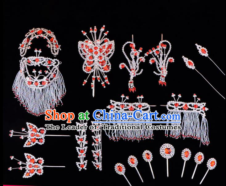Traditional Beijing Opera Diva Hair Accessories Red Crystal Head Ornaments Complete Set, Ancient Chinese Peking Opera Hua Tan Hairpins Phoenix Step Shake Headwear