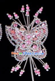 Traditional Beijing Opera Diva Hair Accessories Pink Crystal Butterfly Head Ornaments Hairpins, Ancient Chinese Peking Opera Hua Tan Hairpins Headwear