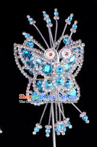 Traditional Beijing Opera Diva Hair Accessories Blue Crystal Butterfly Head Ornaments Hairpin, Ancient Chinese Peking Opera Hua Tan Hairpins Headwear