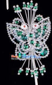 Traditional Beijing Opera Diva Hair Accessories Green Crystal Butterfly Head Ornaments Hairpin, Ancient Chinese Peking Opera Hua Tan Hairpins Headwear