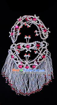 Traditional Beijing Opera Diva Hair Accessories Rosy Crystal Head Ornaments Headband, Ancient Chinese Peking Opera Hua Tan Hairpins Headwear