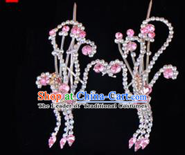 Traditional Beijing Opera Diva Hair Accessories Pink Crystal Head Ornaments Phoenix Step Shake, Ancient Chinese Peking Opera Hua Tan Hairpins Headwear