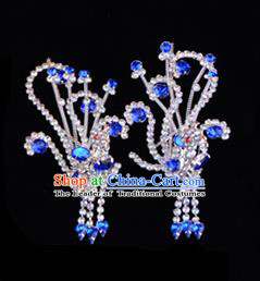 Traditional Beijing Opera Diva Hair Accessories Royalblue Crystal Head Ornaments Phoenix Step Shake, Ancient Chinese Peking Opera Hua Tan Hairpins Headwear