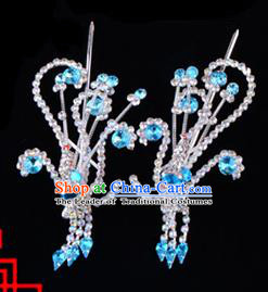 Traditional Beijing Opera Diva Hair Accessories Blue Crystal Head Ornaments Phoenix Step Shake, Ancient Chinese Peking Opera Hua Tan Hairpins Headwear