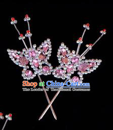 Traditional Beijing Opera Diva Hair Accessories Pink Crystal Head Ornaments Butterfly Hairpin, Ancient Chinese Peking Opera Hua Tan Hairpins Headwear