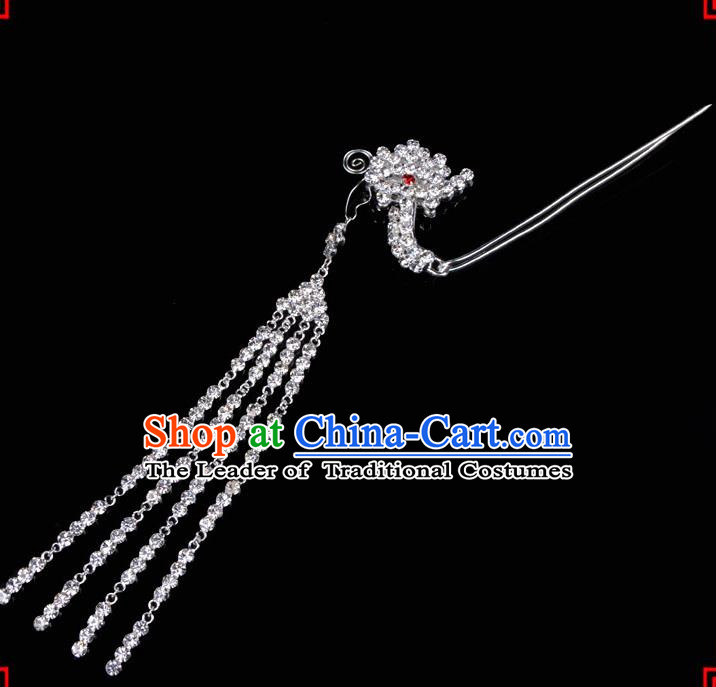 Traditional Beijing Opera Diva Hair Accessories Crystal Tassel Phoenix Step Shake Hairpins, Ancient Chinese Peking Opera Hua Tan Hair Stick Headwear